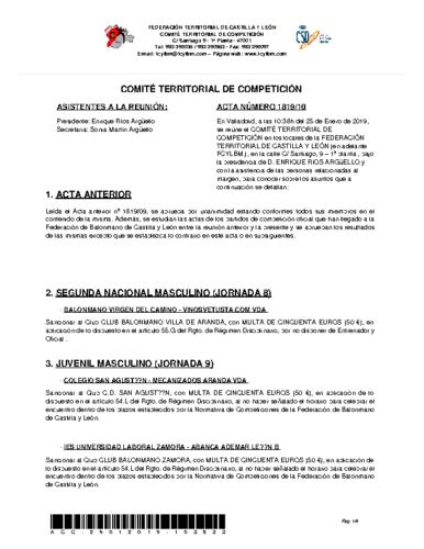 ACTA Nº 10 COMITÉ TERRITORIAL DE COMPETICIÓN