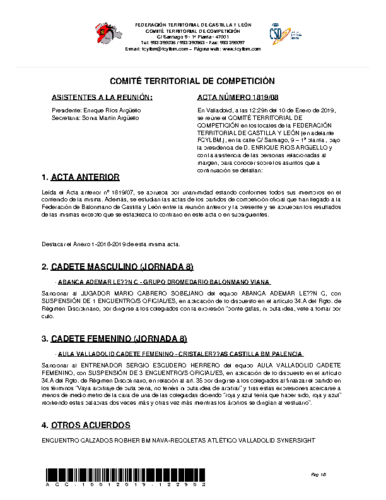 ACTA Nº 8 COMITÉ TERRITORIAL DE COMPETICIÓN