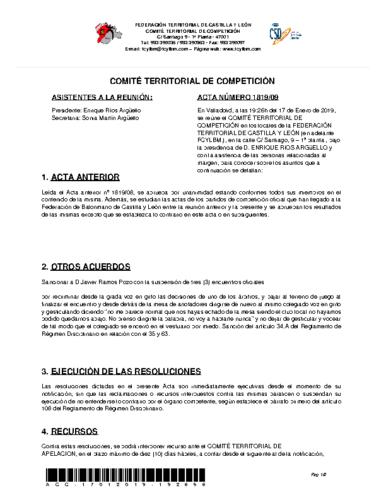 ACTA Nº 9 COMITÉ TERRITORIAL DE COMPETICIÓN