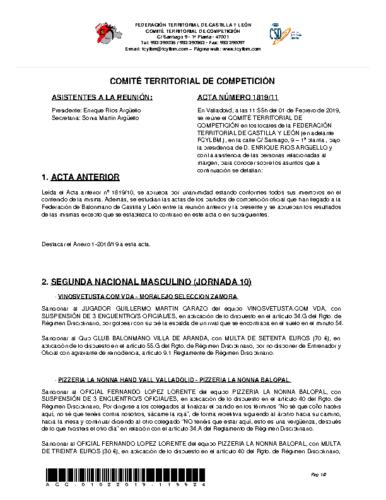 ACTA Nº 11 COMITÉ TERRITORIAL DE COMPETICIÓN