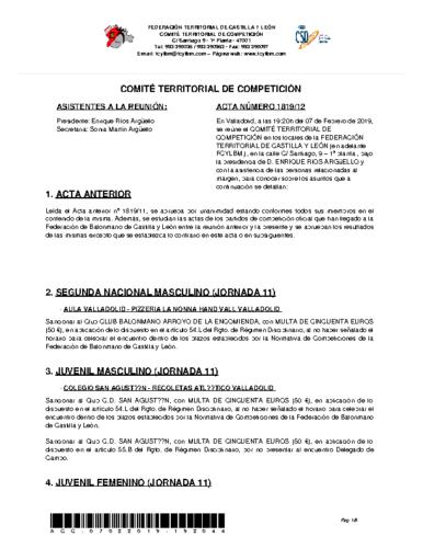 ACTA Nº 12 COMITÉ TERRITORIAL DE COMPETICIÓN