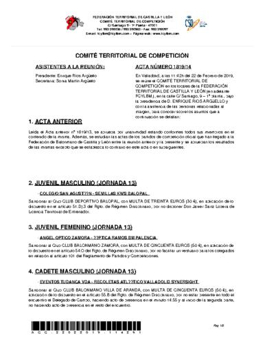 ACTA Nº 14 COMITÉ TERRITORIAL DE COMPETICIÓN
