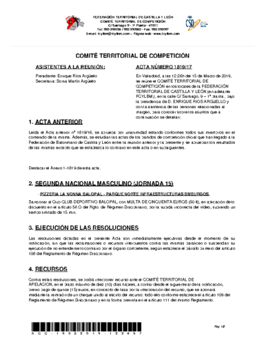 ACTA Nº 17 COMITÉ TERRITORIAL DE COMPETICIÓN