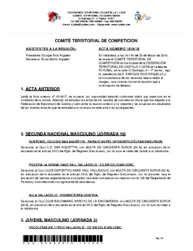 ACTA Nº 18 COMITÉ TERRITORIAL DE COMPETICIÓN