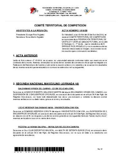 ACTA Nº 20 COMITÉ TERRITORIAL DE COMPETICIÓN