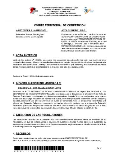 ACTA Nº 21 COMITÉ TERRITORIAL DE COMPETICIÓN