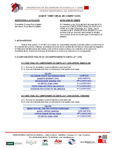 ACTA Nº 22 COMITÉ TERRITORIAL DE COMPETICIÓN