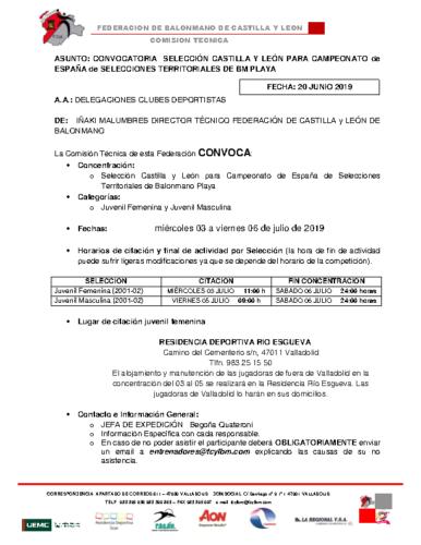 CONVOCATORIA SELECCIONES BM PLAYA CASTILLA Y LEON