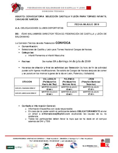 CONVOCATORIA TORNEO CANGAS DE NARCEA