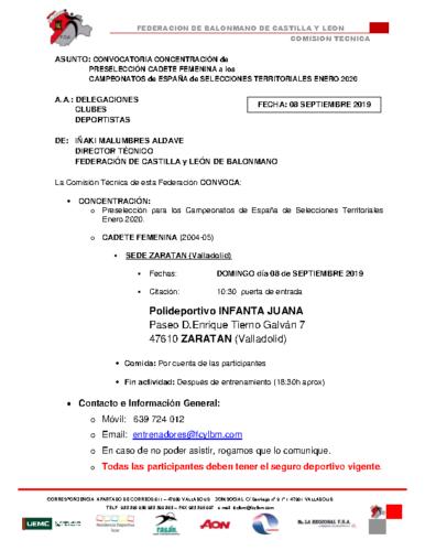 CONVOCATORIA CADETE FEMENINA 07 SEPTIEMBRE 2019