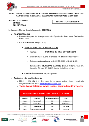 CONVOCATORIA CADETE MASCULINA 13 OCTUBRE 2019