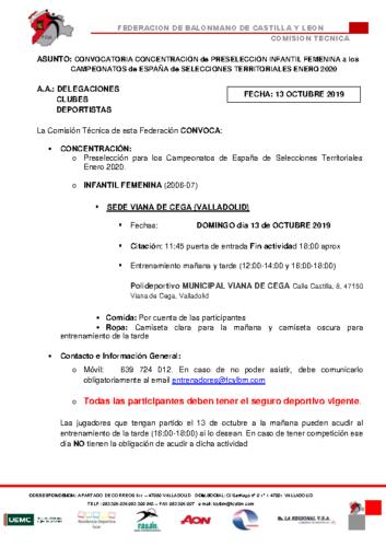 CONVOCATORIA INFANTIL FEMENINA 13 OCTUBRE 2019