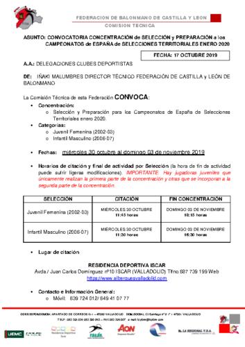 CONVOCATORIA JUVENIL FEMENINA -INFANTIL MASCULINA 30 octubre -03 noviembre