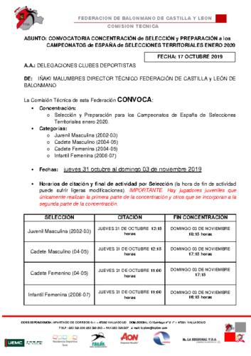 CONVOCATORIA JUVENIL MASCULINA,CADETE MASCULINA,CADETE FEMENINA E INFANTIL FEMENINA 31octubre -03 noviembre