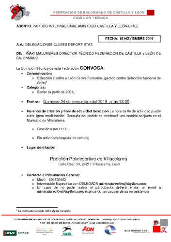 CONVOCATORIA SELECCIÓN CASTILLA Y LEÓN SENIOR PARTIDO CONTRA CHILE
