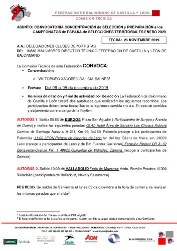 CONVOCATORIA TORNEO GALICIA 6-9 DICIEMBRE