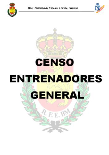 Censo Provisional Entrenadores General