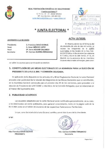 ACTA NUM.13 – 18.07.2020