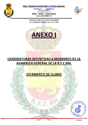 Anexo I Candidaturas Definitivas por Estamentos