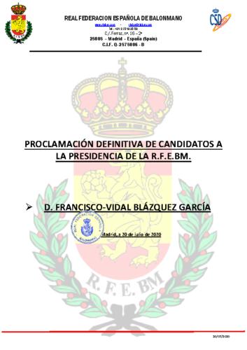 PROCLAMACION DEFINITIVA CANDIDATOS PRESIDENTE
