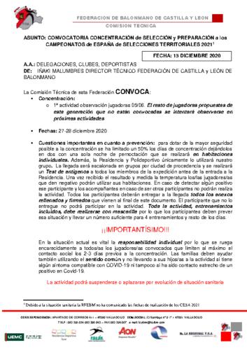 CONVOCATORIA CONCENTRACION CADETE FEMENINA 27-28 DIC