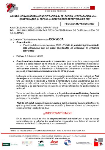 CONVOCATORIA CONCENTRACION CADETE MASCULINA 5-6 DIC02020
