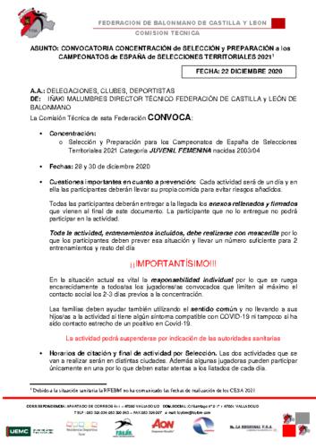 CONVOCATORIA CONCENTRACION JUVENIL FEMENINA 28-30 DIC