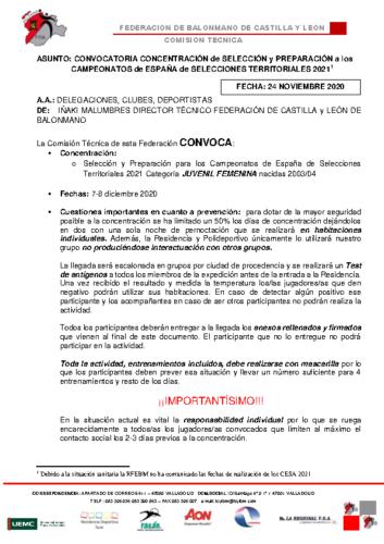 CONVOCATORIA CONCENTRACION JUVENIL FEMENINA 7-8 DIC2020